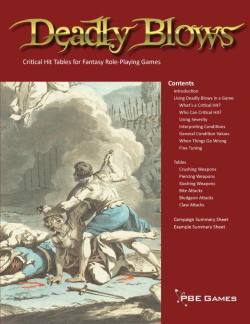 Deadly Blows on DriveThruRPG